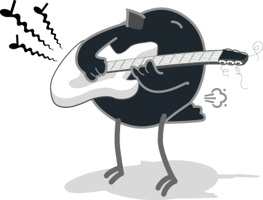 Songbird Mascot Gassy While Playing Guitar