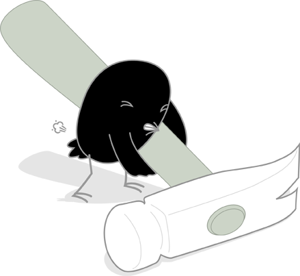 Songbird Mascot Gassy While Lifting A Hammer