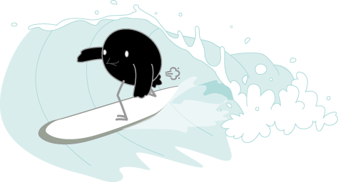 Songbird Mascot Gassy While Surfing