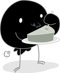 Songbird Mascot Gassy Eating Cheesecake